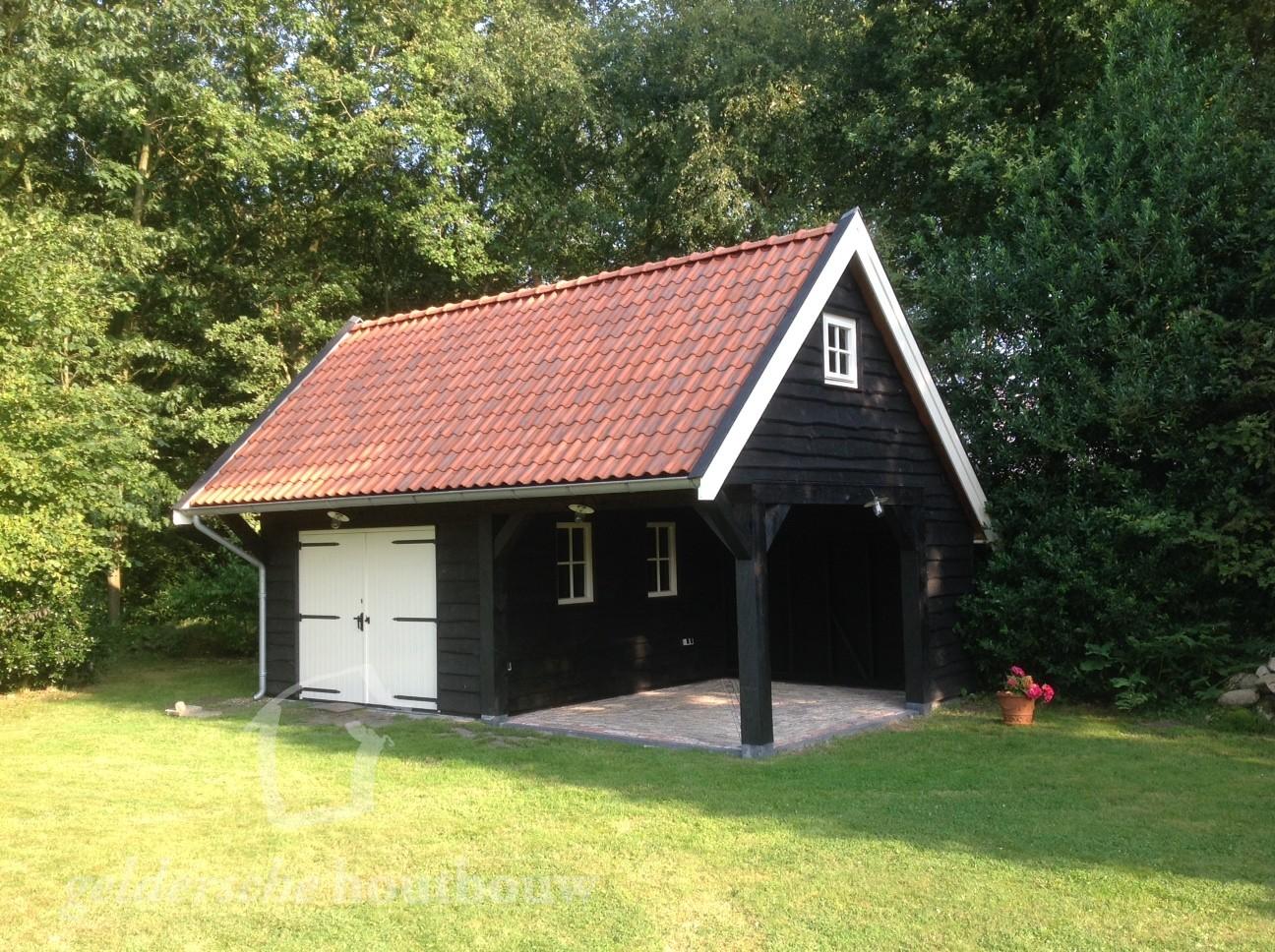 Betere Eigentijdse schuur met overkapping en Zweeds rabat • Houten schuur FM-51